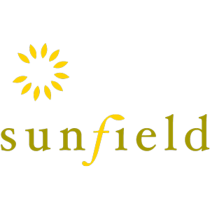 Sunfield logo in gold and green - 300 px