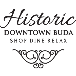Hitoric Downtown Buda Texas Logo in black with scroll design
