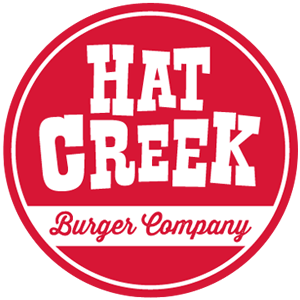 Hat Creek Burger Company round logo in red and white - 300 px