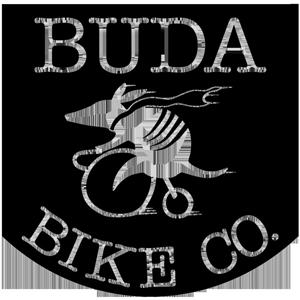 Black and white shield shape logo with for Buda Bike Comapny