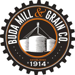 Brown, orange and white gear shape logo with grain silos for Buda Mill & Grain Established in 1914 - Buda Texas