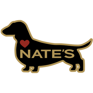 Black, gold and red logo of weiner dog with text and hed heart for Nate's Buda Texas