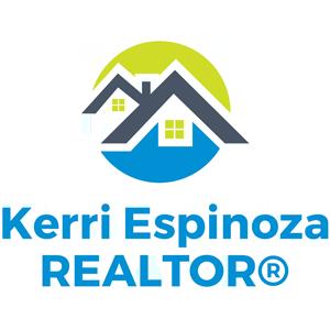 Kerri Espinoza Realtors logo in aqua, green and navy blue - 300 px